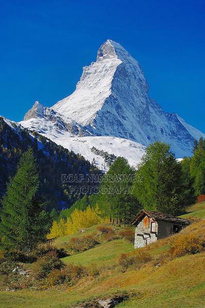 Matterhorn and cottage, Zermatt, Valais, Switzerland