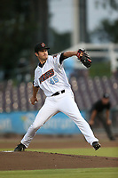 Ryan Clark (45) of the Inland Empire 66ers pitches against the San Jose Giants at LoanMart Field on August 30, 2017 in San Bernardino California. San Jose defeated Inland Empire, 3-0. (Larry Goren/Four Seam Images)