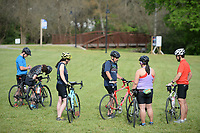 Cyclists prepare to ride Saturday, May 1, 2021, during the spring Square 2 Square ride at Walker Park in Fayetteville. The semi-annual event features an in-person ride along the Razorback Greenway from Fayetteville to the Bentonville square held Saturday with an opportunity for virtual participation throughout the month of May. Visit nwaonline.com/210502Daily/ for today's photo gallery. <br /> (NWA Democrat-Gazette/Andy Shupe)