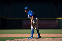 Kansas City Royals relief pitcher Franco Terrero (49) looks to his catcher for the sign during an Instructional League game against the Arizona Diamondbacks at Chase Field on October 14, 2017 in Scottsdale, Arizona. (Zachary Lucy/Four Seam Images)