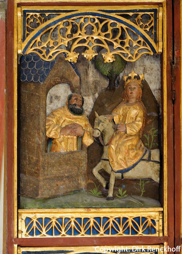 St. Katharinenaltar von 1480 in Middellhagen auf Rügen, Mecklenburg-Vorpommern, Deutschland
