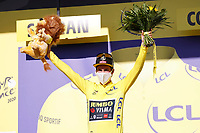 10th September 2020, Chauvigny to Sarran Correze, France; 107th Tour de France Cycling tour, stage 12;  Jumbo - Visma Roglic, Primoz Sarran celebrates on podium in Correze