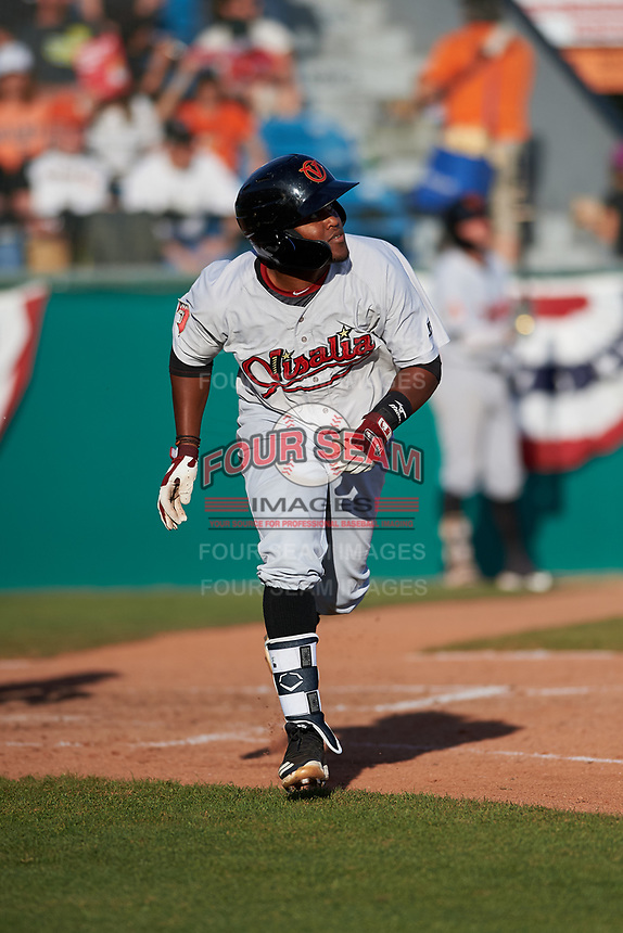 Visalia Rawhide designated hitter Luis Alejandro Basabe (5) hits his first home run of the season during a California League game against the San Jose Giants on April 13, 2019 at San Jose Municipal Stadium in San Jose, California. Visalia defeated San Jose 4-2. (Zachary Lucy/Four Seam Images)