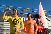 """From left, Grant """"Twiggy"""" Baker, Greg Long and Jamie Sterling on stage before the awards ceremony following the 2008 Mavericks Surf Contest in Half Moon Bay, Calif., Saturday, January 12, 2008...Photo by David Calvert/isiphotos.com"""