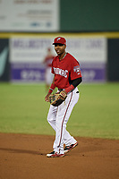 Potomac Nationals second baseman Osvaldo Abreu (5) during a Carolina League game against the Myrtle Beach Pelicans on August 14, 2019 at Northwest Federal Field at Pfitzner Stadium in Woodbridge, Virginia.  Potomac defeated Myrtle Beach 7-0.  (Mike Janes/Four Seam Images)