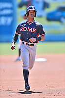 Rome Braves center fielder Ray-Patrick Didder (11) runs to third during a game against the Rome Braves at McCormick Field on April 17, 2016 in Asheville, North Carolina. The Tourists defeated the Braves 12-5. (Tony Farlow/Four Seam Images)