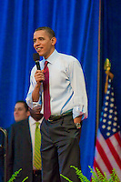 President of the United States, Barack H. Obama, speaks during a Town Hall meeting at Green Valley High School in Henderson, NV.