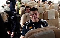 Photo: Richard Lane/Richard Lane Photography. London Wasps in Abu Dhabi for their LV= Cup game against Harlequins on 30th January 2011. 01/02/2011. Wasps' Mark Hayes onboard the flight back to the UK.