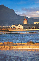 Pictures & images of the salt pans of the Nubia Salt works Museum and Nubia wind mill,  World Wildlife reserve of Saline di Trapani and Paceco site, Trapani Sicily.