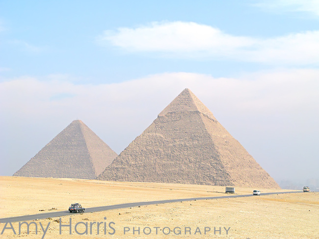 Great Pyramid and Pyramid of Khafre near Cairo, Egypt.