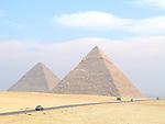 Great Pyramid and Pyramid of Khafre near Cairo, Egypt.