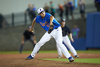 Alex Faedo (21) of the Florida Gators pitches in relief during the game against the Wake Forest Demon Deacons in Game Three of the Gainesville Super Regional of the 2017 College World Series at Alfred McKethan Stadium at Perry Field on June 12, 2017 in Gainesville, Florida. The Gators defeated the Demon Deacons 3-0 to advance to the College World Series in Omaha, Nebraska. (Brian Westerholt/Four Seam Images)