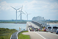 peloton over the famous Pijlerdam/Oosterscheldekering, the biggest/longest of the Delta Works<br /> <br /> 3rd World Ports Classic 2014<br /> stage 1: Rotterdam - Antwerpen 195km