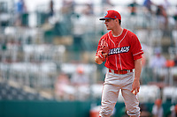 Lakewood BlueClaws relief pitcher Zach Warren (33) looks in for the sign during a game against the Greensboro Grasshoppers on June 10, 2018 at First National Bank Field in Greensboro, North Carolina.  Lakewood defeated Greensboro 2-0.  (Mike Janes/Four Seam Images)
