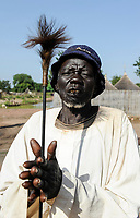 SOUTH SUDAN, village near Rumbek, traditional healer of Dinka tribe