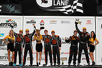 IMSA Continental Tire SportsCar Challenge<br /> BMW Endurance Challenge at Daytona<br /> Daytona Beach, Florida, USA<br /> Friday 26 January 2018<br /> TCR class podium #74 Compass Racing, Audi RS3 LMS TCR, TCR: Rodrigo Sales, Kuno Wittmer, #77 Compass Racing, Audi RS3 LMS TCR, TCR: Britt Casey Jr, Tom Long, #53 Murillo Racing, Audi RS3 LMS TCR, TCR: Matt Fassnacht, Justin Piscitell<br /> World Copyright: Michael L. Levitt<br /> LAT Images<br /> <br /> ref: Digital Image _01I7354