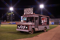 "The Winchester Auto Parts truck drives onto the field for the ""Smash For Cash"" promo between innings during a California League game between the San Jose Giants and the Visalia Rawhide on April 12, 2019 at San Jose Municipal Stadium in San Jose, California. Visalia defeated San Jose 6-2. (Zachary Lucy/Four Seam Images)"