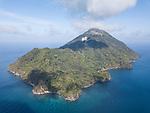 Serua Island, Banda Sea, Indonesia; an aerial view of the volcanic island of Serua