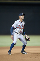 Third baseman Derian Cruz (66) of the Rome Braves plays defense in a game against the Columbia Fireflies on Tuesday, June 4, 2019, at Segra Park in Columbia, South Carolina. Columbia won, 3-2. (Tom Priddy/Four Seam Images)