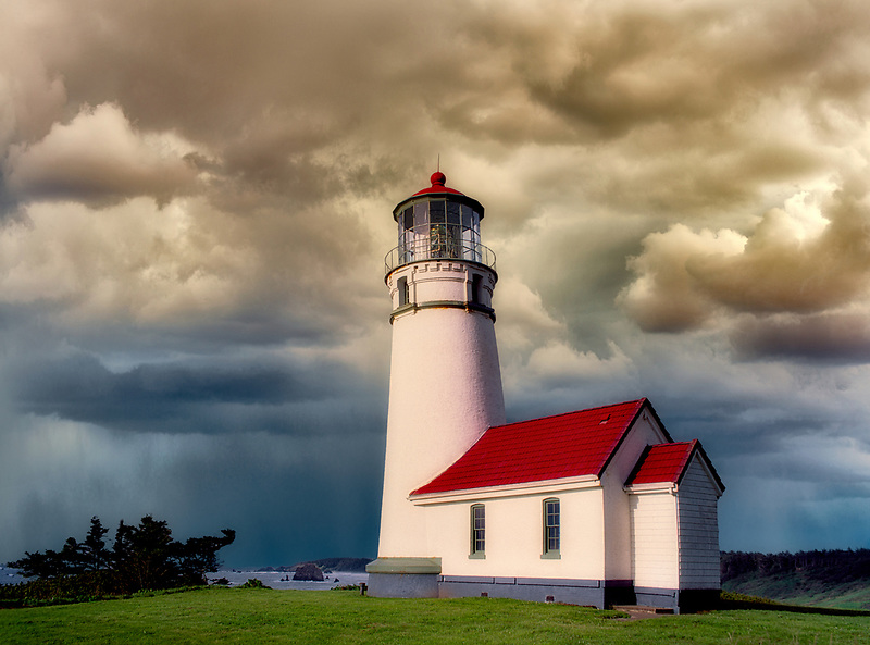 horizontal, sentinel, Cape Blanco Lighthouse, stormy sky, Oregon, medium, storm, storms, cloud, clouds, cloudy, weather, dark clouds, dark cloud, cloudbank, overcast, clouded, raincloud, rainclouds, rain cloud, rain clouds, storm clouds, stormcloud, cloud up, cloud over, thunderstorm, thunder storm, stormclouds, somber, gloomy, ocean, oceans, oceanic, sea, seas, seascape, seascapes, beach, beaches, coast, surf, coastline, coastlines, coast line, coast lines, coastal, shore, shores, shoreline, shorelines, shore line, shore lines, beachshore, seashore, sea shore, body of water, seaside, waterfront, coastal region, Oregon coast, wave, waves, tide, tides, Pacific Ocean, lighthouse, lighthouses, sand, water, water scape, water scapes, water scene, water scenes, waterscenic, waterscenics, waterscape, waterscapes, building, buildings, dwelling, dwellings, tree, trees, tree trunk, trunk, tree trunks, branch, branches, grass, grassy, lonely, alone, single, one, soar, soaring, skyward, mood, moody