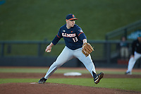 Illinois Fighting Illini relief pitcher RyanSchmitt (13) in action against the Coastal Carolina Chanticleers at Springs Brooks Stadium on February 22, 2020 in Conway, South Carolina. The Fighting Illini defeated the Chanticleers 5-2. (Brian Westerholt/Four Seam Images)