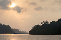 View across the Fjord at sunrise, Tufi, Cape Nelson, Oro Province, Papua New Guinea