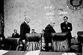 Washington DC, <br /> District of Columbia<br /> USA<br /> January 31, 2007<br /> <br /> Democratic Senator Joe Biden (L) and Henry Kissinger center at Senate hearing concerning the war in Iraq.