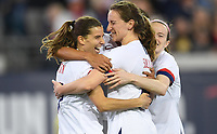 JACKSONVILLE, FL - NOVEMBER 10: Tobin Heath #17, Andi Sullivan #25 and the USWNT celebrate a goal during a game between Costa Rica and USWNT at TIAA Bank Field on November 10, 2019 in Jacksonville, Florida.