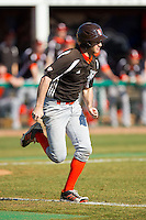 Andrew Kubuski (13) of the Bowling Green Falcons hustles down the first base line against the High Point Panthers at Willard Stadium on March 9, 2014 in High Point, North Carolina.  The Falcons defeated the Panthers 7-4.  (Brian Westerholt/Four Seam Images)