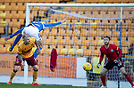 St Johnstone v Motherwell…28.09.19   McDiarmid Park   SPFL<br />Murray Davidson is brought down for a penalty by Liam Donnelly<br />Picture by Graeme Hart.<br />Copyright Perthshire Picture Agency<br />Tel: 01738 623350  Mobile: 07990 594431
