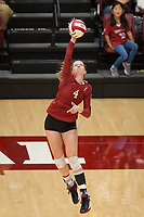 STANFORD, CA - NOVEMBER 17: Stanford, CA - November 17, 2019: Meghan McClure at Maples Pavilion. #4 Stanford Cardinal defeated UCLA in straight sets in a match honoring neurodiversity. during a game between UCLA and Stanford Volleyball W at Maples Pavilion on November 17, 2019 in Stanford, California.
