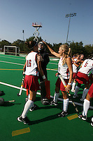6 November 2007: Stanford Cardinal Katherine Swank (16), Madison Bell (center), and Chloe Bade (17) during Stanford's 1-0 win against the Lock Haven Lady Eagles in an NCAA play-in game to advance to the NCAA tournament at the Varsity Field Hockey Turf in Stanford, CA.