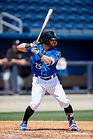 Biloxi Shuckers center fielder Michael Reed (25) at bat during a game against the Jackson Generals on April 23, 2017 at MGM Park in Biloxi, Mississippi.  Biloxi defeated Jackson 3-2.  (Mike Janes/Four Seam Images)
