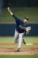 Mississippi Braves starting pitcher Bryce Elder (58) in action against the Birmingham Barons at Regions Field on August 3, 2021, in Birmingham, Alabama. (Brian Westerholt/Four Seam Images)