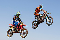 Leon Woodford and Jason Aylett (230 at the start / finish leap during the Richard Fitch Memorial Trophy Motocross at Wakes Colne MX Circuit on 18th July 2021
