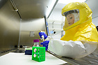 September 22, 2021; Ph.D. student Kathleen Nicholson demonstrates the biosafety level 3 facility. (Photo by Matt Cashore/University of Notre Dame)