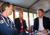04-09-12, Netherlands, Alphen aan den Rijn, Tennis, Pressconference Daviscup Nl-Swiss,  Captain Jan Siemerink, Steffan Kok (M) en Jon Visbeen  van Tennis het Magazine