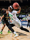 Mar 31, 2014; Jewel Loyd (32) drives to the basket as Baylor Bears guard Niya Johnson (2) defends in the regional final of the 2014 NCAA Tournament. Notre Dame won 88-69. <br /> <br /> Photo by Matt Cashore