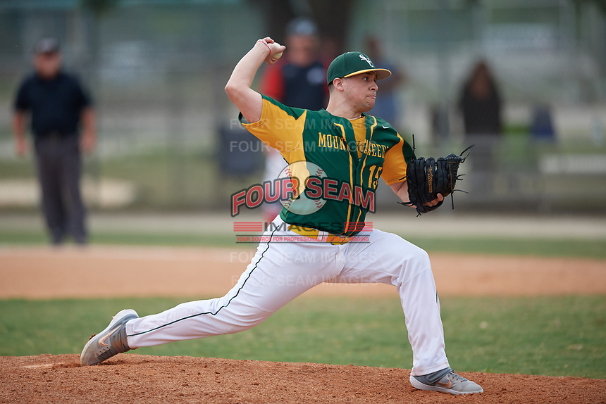 South Vermont Mountaineers relief pitcher Bryan Padilla (15) during a game against the Edgewood Eagles on March 18, 2019 at Lee County Player Development Complex in Fort Myers, Florida.  South Vermont defeated Edgewood 19-6.  (Mike Janes/Four Seam Images)