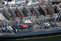 aerial photograph Coast Guard Merchant Marine berthed pier San Francisco, California