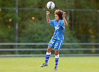 20160513 - LIEGE , BELGIUM : Gent's Kassandra Ndoutou Eboa Missipo pictured during a soccer match between the women teams of  Standard Femina De Liege and KAA Gent Ladies , during the fifth matchday in the SUPERLEAGUE Playoff 1 , Friday 13 May 2016 . PHOTO SPORTPIX.BE / DAVID CATRY