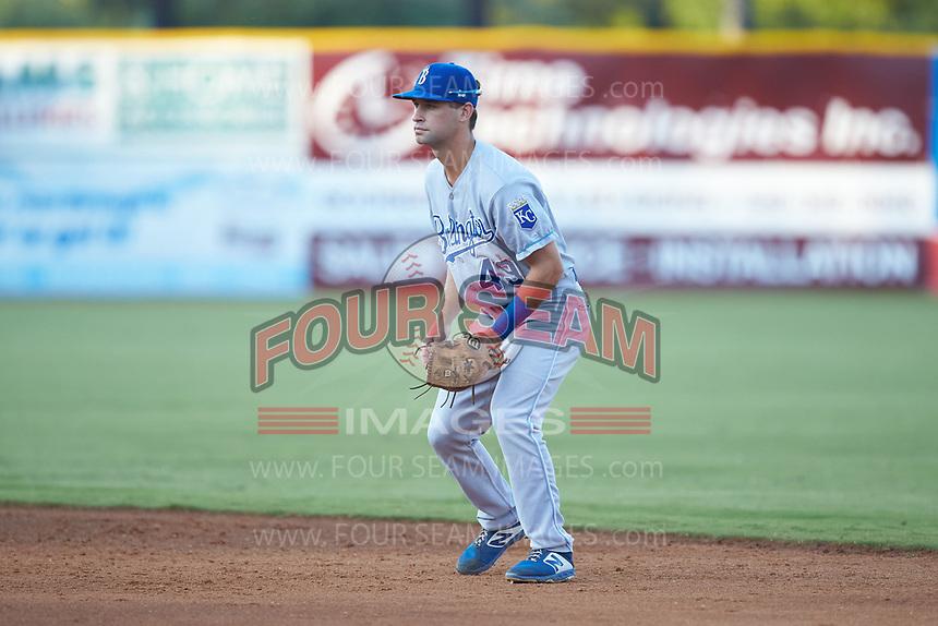 Burlington Royals second baseman Jack Gethings (49) on defense against the Pulaski Yankees at Calfee Park on August 31, 2019 in Pulaski, Virginia. The Yankees defeated the Royals 6-0. (Brian Westerholt/Four Seam Images)