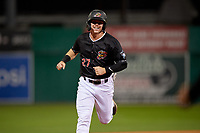 Batavia Muckdogs Troy Johnston (27) rounds the bases on a Nic Ready (not shown) home run during a NY-Penn League Semifinal Playoff game against the Lowell Spinners on September 4, 2019 at Dwyer Stadium in Batavia, New York.  Batavia defeated Lowell 4-1.  (Mike Janes/Four Seam Images)