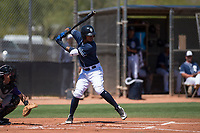 San Diego Padres shortstop Gabriel Arias (65) at bat during an Extended Spring Training game against the Colorado Rockies at Peoria Sports Complex on March 30, 2018 in Peoria, Arizona. (Zachary Lucy/Four Seam Images)