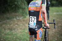blooded elbow for Seppe Rombouts (BEL/U23/Acrog-BalenBC) after he crashed out of the race<br /> <br /> Brico-cross Geraardsbergen 2016
