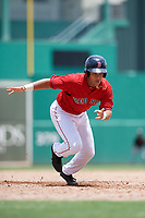 GCL Red Sox designated hitter Brandon Howlett (5) leads off first base during a game against the GCL Orioles on August 9, 2018 at JetBlue Park in Fort Myers, Florida.  GCL Red Sox defeated GCL Orioles 10-4.  (Mike Janes/Four Seam Images)