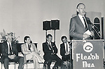 CCE national president Michael Ó Lochlainn officially opening Fleadh Nua 1987. Also pictured are Francie Donnellan, Clare CCE president; Philip O'Reilly, Chamber of Comemrce president; Raymond Greene, UDC chairman and Seamus Liddy, Fleadh Nua chairman - 1987.