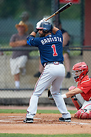 Atlanta Braves third baseman Jose Bautista (1) at bat in the top of the first inning during a Minor League Extended Spring Training game against the Philadelphia Phillies on April 20, 2018 at Carpenter Complex in Clearwater, Florida.  Catching is Rafael Marchan.  (Mike Janes/Four Seam Images)