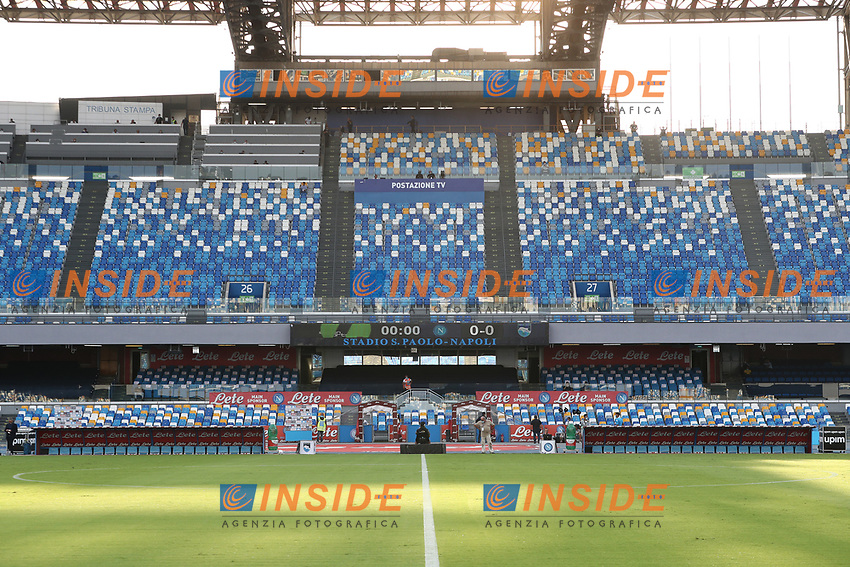 Overview of the stadium grandstands<br /> during the friendly football match between SSC Napoli and Pescara Calcio 1936 at stadio San Paolo in Napoli, Italy, September 11, 2020. <br /> Photo Cesare Purini / Insidefoto