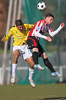 Billy Coyne of Hornchurch and Aaron Rhule of Bromley - AFC Hornchurch vs Bromley - Blue Square Conference South Football at The Stadium, Upminster Bridge, Essex - 01/04/13 - MANDATORY CREDIT: Gavin Ellis/TGSPHOTO - Self billing applies where appropriate - 0845 094 6026 - contact@tgsphoto.co.uk - NO UNPAID USE.